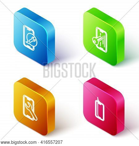Set Isometric Line Mobile Service, Glass Screen Protector, And Icon. Vector