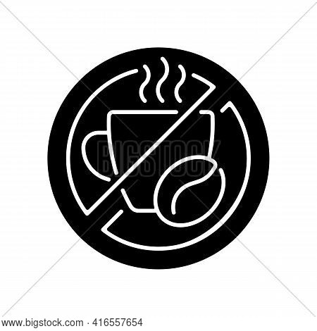 No Caffeine Black Glyph Icon. Limit Coffee Intake. Dietary Drink. Avoid Unhealthy Product. Cause Of