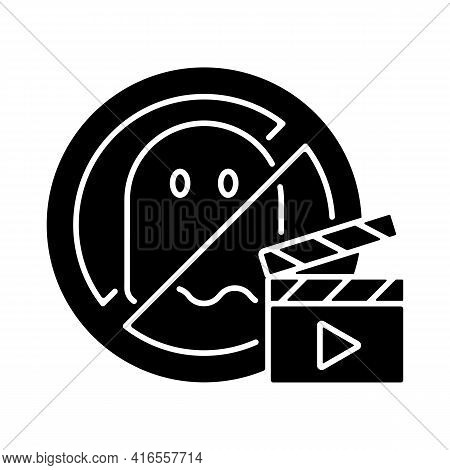 No Horror Movies Black Glyph Icon. Restriction For Cinematography And Entertainment. Recommendation