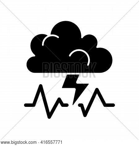 Stress Black Glyph Icon. Concept Of Bad Mood, Depression, Anxiety. Thunderstorm, Cloud With Lightnin