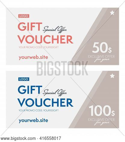 Special Offer 50, 100 Dollar Gift Voucher With Promo Code. Monetary Coupon Template With Place For C