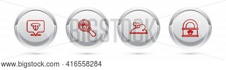 Set Line Cat Nose, Veterinary Clinic, Clockwork Mouse And Canned Food. Silver Circle Button. Vector