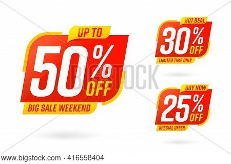 Super Weekend Best Sale Sticker Label Badge Template Set. Hot Deal, Big Sale Weekend Limited Time On