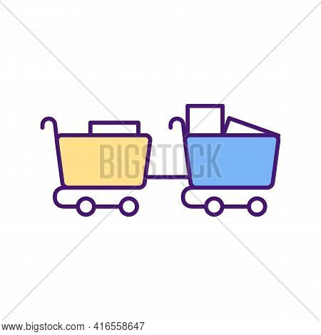 Buying Wholesale Merchandise Rgb Color Icon. Making Purchasing Decisions. Supplying Goods, Services.