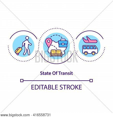 State Of Transit Concept Icon. Moving Countries. Transportation Through Region. Migrant Workers Idea