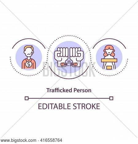 Trafficked Person Concept Icon. Human Slavery, Violence And Abuse. Forced Labor. Migrant Worker Righ