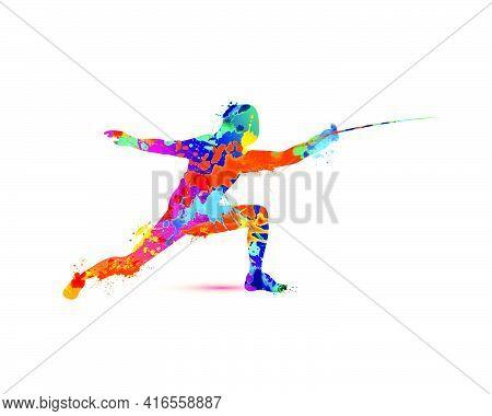 Fencing Man Silhouette Vector Icon Of Splash Paint