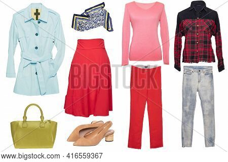 Collage Woman Clothes. Set Of Stylish And Luxurious Trendy Women Coat, Skirts, A Blouse Or Shirts, H