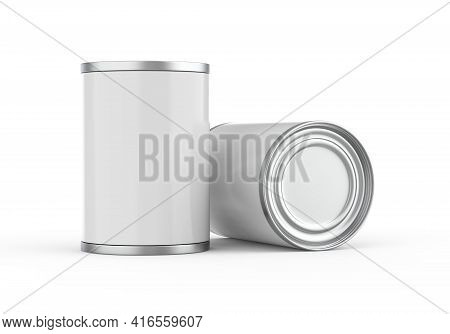 Metallic Food Tin Can Mockup Template For Fish, Beans, Meat, Corns, Peas And Vegetables. Steel Tin J