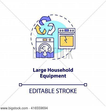 Large Household Equipment Concept Icon. E-waste Category Idea Thin Line Illustration. Household Bulk