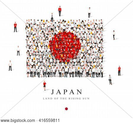 A Large Group Of People Are Standing In White And Red Robes, Symbolizing The Flag Of Japan. Vector I