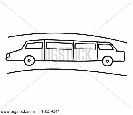 Hand Drawn Doodle Limousine For Coloring Children Book. Simple Line, 2 - 4 Age Group. Big Mashines,