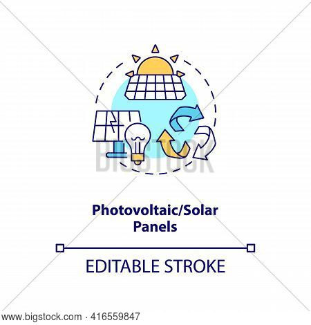 Photovoltaic And Solar Panels Concept Icon. E-waste Category Idea Thin Line Illustration. Recycling