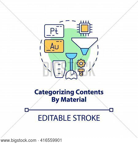 Categorizing Contents By Material Concept Icon. E-waste Recycling Step Idea Thin Line Illustration.