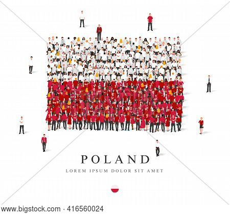 A Large Group Of People Are Standing In White And Red Robes, Symbolizing The Flag Of Poland. Vector