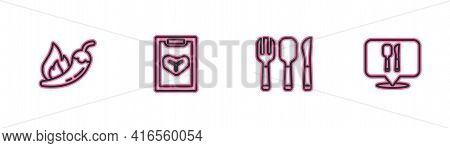 Set Line Hot Chili Pepper Pod, Fork, Spoon And Knife, Restaurant Cafe Menu And Cafe Restaurant Locat