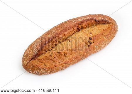 Whole Oval Loaf Of Hearth Brown Bread  With Added Whole Sprouted Wheat Grains On A White Background