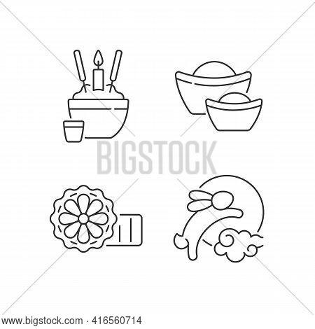 China National Holidays Linear Icons Set. Rice Bowl. Gold Ingots. Mooncakes. Moon Hare. Wealth Symbo
