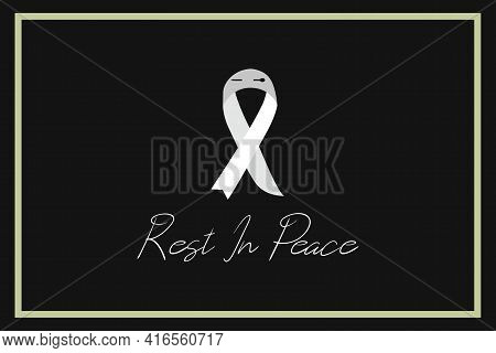 Black Ribbon For Rest In Peace (r.i.p.) Vector Set Design