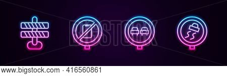 Set Line Road Barrier, No Cell Phone, Overtaking Road Traffic And Slippery. Glowing Neon Icon. Vecto