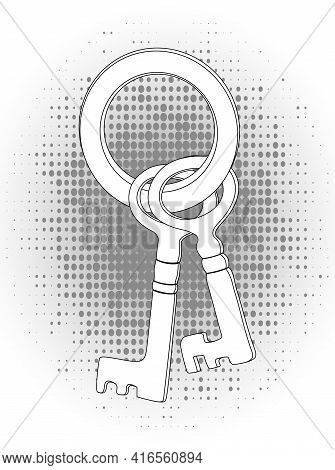 Silhouette Of The Lock Keys Isolated On A White Background. Vector