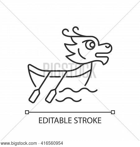 Dragon Boat Festival Linear Icon. Tuen Ng. Ornately Carved Boats. Sacred Ceremony. Ancient Ritual. T