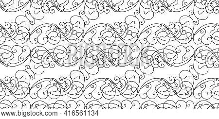 Abstract Pattern In Victorian Style. Curls Are Black On A White Background. Geometric Pattern Seamle