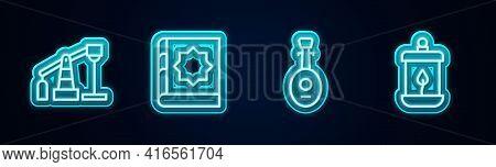 Set Line Oil Pump Or Pump Jack, Holy Book Of Koran, Lute And Ramadan Kareem Lantern. Glowing Neon Ic