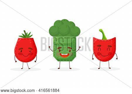 Set Paprika Broccoli Tomato Shaped Patch Pocket. Character Pocket Paprika Broccoli Tomato. Cartoon S