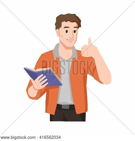 Man Enjoys Reading Book Showing Like Sign Approval Gesture Isolated Flat Cartoon Character Feeling W