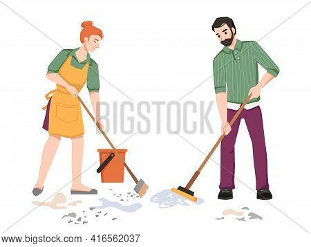 Housework, Couple Sweeping, Cleaning In Room, Woman Sweeps And Man Mops The Floor Isolated. Husband
