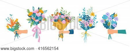 Floral Composition In Bouquet, Isolated Set Of Hands Holding Flowers In Blossom. Botany And Decorati