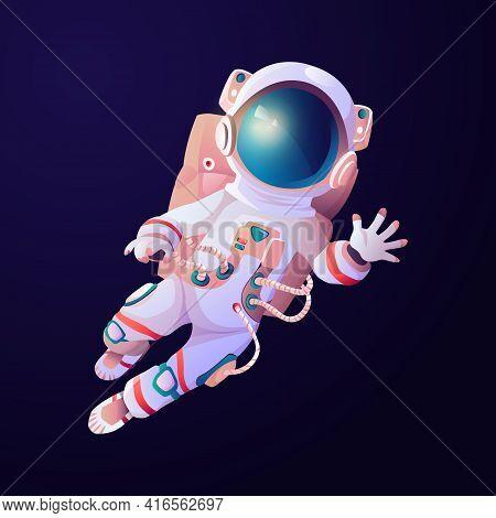 Astronaut Scientific Hero Waving Hand In Cosmos. Cartoon Astronomy Explorer In Space Suit And Helmet