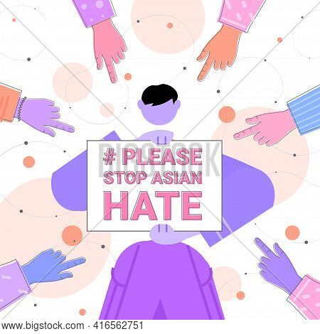 Stop Asian Hate Campaign Surrounded By Fingers Girl Being Bullied Campaign Against Racism Support Du