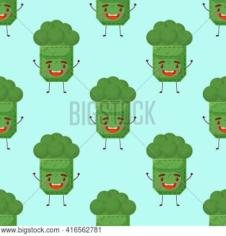 Seamless Pattern Broccoli Shaped Patch Pocket. Character Pocket Broccoli. Cartoon Style. Design Elem
