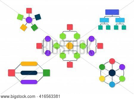 Flowchart Organization. Infographic Diagram For Organizational Structure. Flow Chart With Hierarchy.