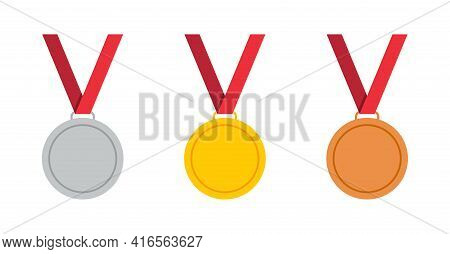 Gold, Bronze And Silver Medal With Ribbon. Icon Of Award. Gold Medal For 1st Place In Olympic Games.