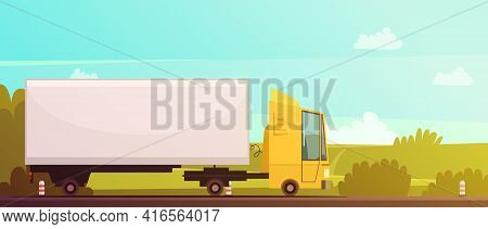 Logistics And Delivery Cartoon Background With Truck And Road Vector Illustration