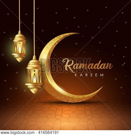 Ramadan Kareem Islamic Design Crescent Moon And Lantern With Arabic Pattern And Calligraphy