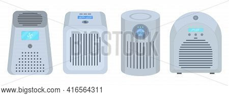 Air Purifiers Vector Illustration In Flat Style On Isolated White Background. Filtration Of Viruses,