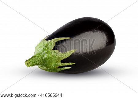 Eggplant Isolated On White Background. Fresh Aubergine Vegetable. Excellent Retouching Quality, High