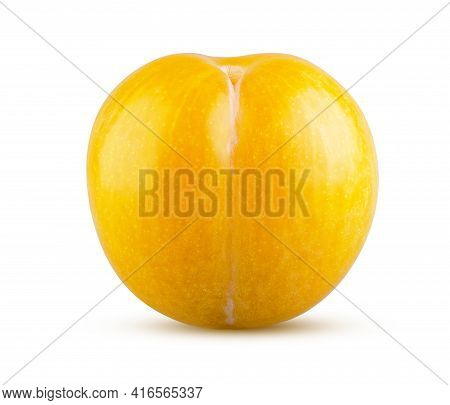 Perfectly Retouched Whole Yellow Plum Isolated On White Background. Full Depth Of Field