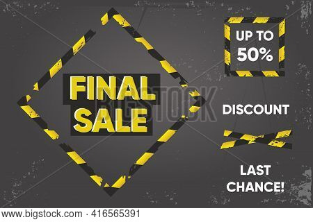 Quarantine Sale Banner. Barricade Tape Signs. Discount Background. Duct Tape On A Floor. Vector Desi
