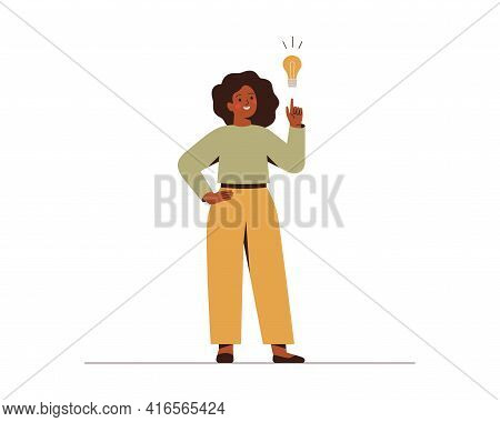 Black Woman Points On Light Bulb Over Her. Happy African Female Entrepreneur Has Business Idea. Conc