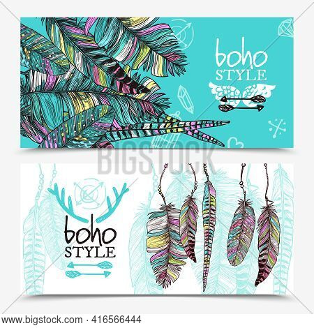 Sketch Feathers Horizontal Banners With Colorful Plumes Branches In Boho Style Vector Illustration