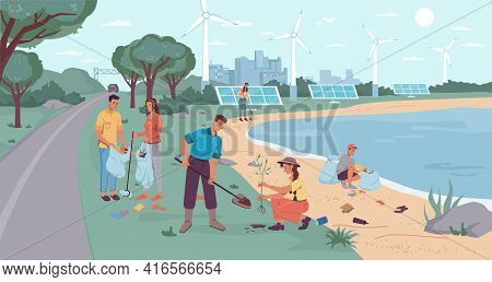 Eco-city Environment, Garbage Collection And Tree Planting. People Volunteers Cleaning Up Beach From