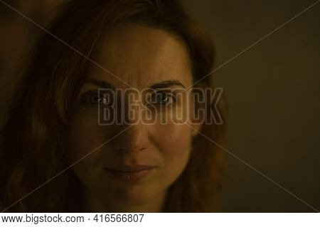 Evening Portrait Of Thirty-year-old Woman Close Up Without Retouching Skin. Real Age.