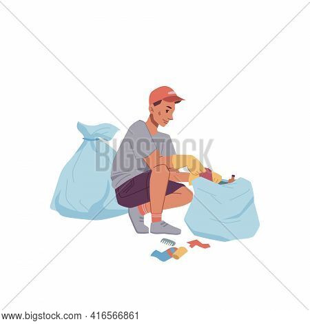 Man In Rubber Gloves Collect Litter Into Bags Isolated Flat Cartoon. Vector Ecologist Clean Globe, H