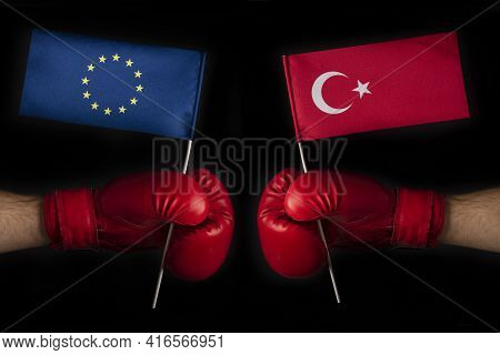 Boxing Gloves With European Union And Turkish Flag. Turkish And The European Union Confrontation And