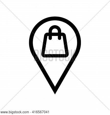 Location Mark Place With Shopping Sign Thin Black Line Icon. Landmark Concept. Trendy Flat Isolated